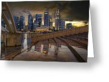 Singapore City Skyline By The Esplanade Greeting Card