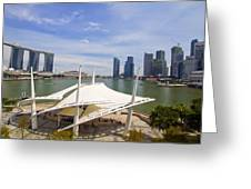 Singapore City Skyline From The Esplanade Greeting Card