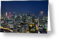 Singapore Cityscape At Blue Hour Greeting Card