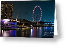 Singapore Flyer At Night Greeting Card by Rick Piper Photography
