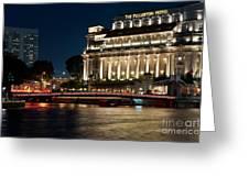 Singapore Fullerton Hotel At Night 02 Greeting Card