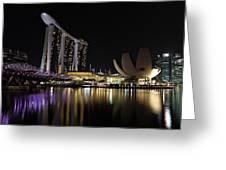 Helix Bridge To Marina Bay Sands Greeting Card