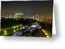 Singapore Night Skyline From Marina Barrage Greeting Card