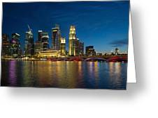 Singapore River Waterfront Skyline At Blue Hour Greeting Card