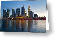 Singapore River Waterfront Skyline At Sunset Greeting Card