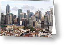 Singapore Skyline Along Chinatown Area Greeting Card