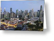 Singapore Skyline Along Chinatown Evening Greeting Card