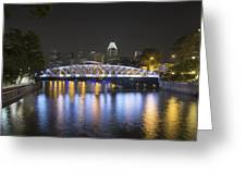 Singapore Skyline By Anderson Bridge At Night Greeting Card