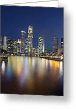 Singapore Skyline By Boat Quay Vertical Greeting Card