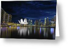 Singapore Skyline By River Waterfront At Dusk Greeting Card