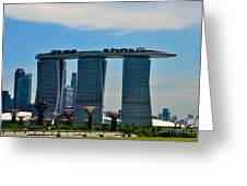 Singapore Skyline With Marina Bay Sands And Gardens By The Bay Supertrees Greeting Card