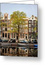 Singel Canal Houses In Amsterdam Greeting Card