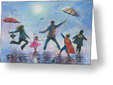 Singing In The Rain Super Hero Kids Greeting Card