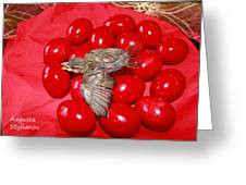 Singing Over Red Eggs Greeting Card