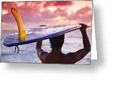 Single Fin Surfer Greeting Card