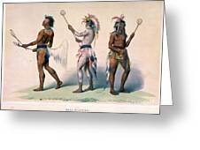 Sioux Lacrosse Players Greeting Card