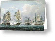 Sir Richard Strachans Action After The Battle Of Trafalgar Greeting Card by Thomas Whitcombe