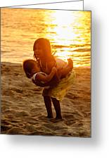 Sister And Brother On The Beach Greeting Card by Colin Utz