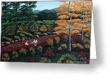 Sister's Autumn Stroll Greeting Card