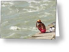 Sitting At Ganga Greeting Card