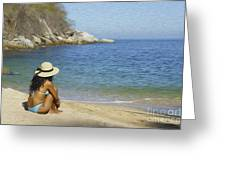 Sitting At The Beach Greeting Card