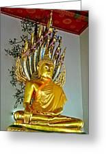 Sitting Buddha In Wat Po In Bangkok-thailand Greeting Card