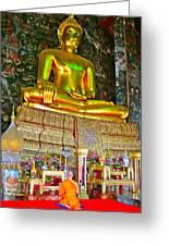 Sitting Buddha In Wat Suthat In Bangkok-thailand Greeting Card