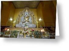 sitting Buddha made from one single marble block in KYAUKTAWGYI PAGODA Greeting Card