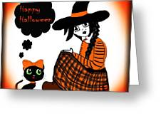 Sitting Halloween Witch Greeting Card