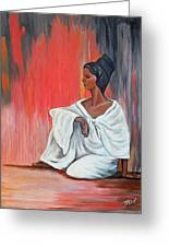 Sitting Lady In White Next To A Red Wall Greeting Card
