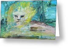 Sitting Lion Oil Portrait Greeting Card