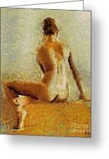 Sitting Nude II Greeting Card