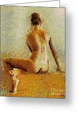 Sitting Nude II Greeting Card