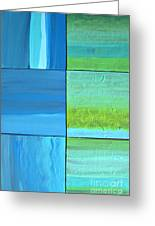 Six Blue Tiles Greeting Card