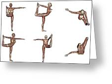 Six Different Views Of Dancer Yoga Pose Greeting Card