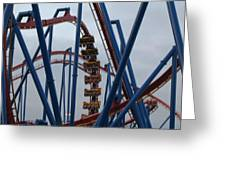 Six Flags Great Adventure - Medusa Roller Coaster - 12125 Greeting Card