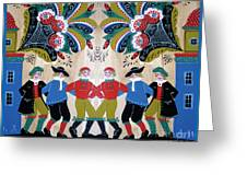 Six Men Dancing Greeting Card