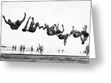Six Men Doing Beach Flips Greeting Card