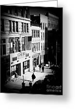 Six O'clock On The Street - Black And White Greeting Card