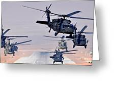 Six Uh-60l Black Hawks And Two Ch-47f Chinooks Greeting Card