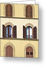 Six Windows Of Florence Greeting Card