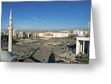 Skanderberg Square In Tirana Albania Greeting Card