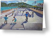 Skateboaders  Teignmouth Greeting Card by Andrew Macara