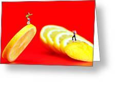 Skateboard Rolling On A Floating Lemon Slice Greeting Card by Paul Ge