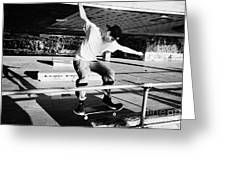 skateboarder at the undercroft skate park of the southbank centre London England UK Greeting Card