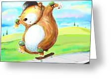 Skateboarding Bear Greeting Card by Scott Nelson