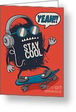 Skater Monster Greeting Card