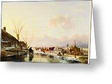 Skaters By A Booth On A Frozen River Greeting Card