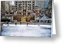 Skating At Rockefeller Plaza Greeting Card
