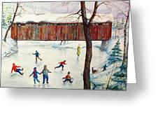 Skating At The Bridge Greeting Card